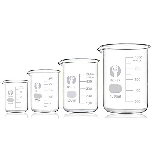 Bechergläser Set Meßbecher 100ml 250ml 500ml 1000ml Borosilikatglas Becherglas für Labor Meßbecher