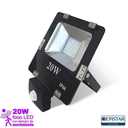 EEKLUX LED-spot, 20 W, met bewegingsmelder, 20 W, zwart, klein