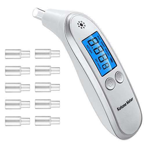 ケトンメーター測定器、Ketosis 検知器 測定器 プロフェッショナルデジタルケトンブレスアナライザー、10マウスピースを備えたータブルケトンブレスメーター (ホワイト)
