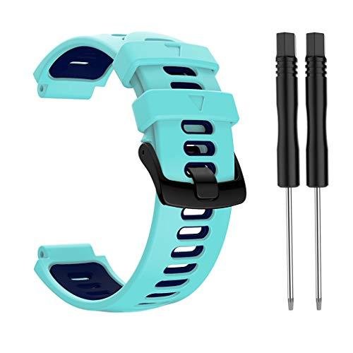 Sweo Correa de reloj de pulsera, correa de silicona con hebilla de acero de repuesto para Garmin Forerunner 735xt/220/230/235