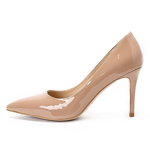 Darco & Gianni  Damen wies Zehe Klassische Stiletto High Heels Slip On Schuhe Hochzeit Büro Party Pumps,   Beige,  37 EU