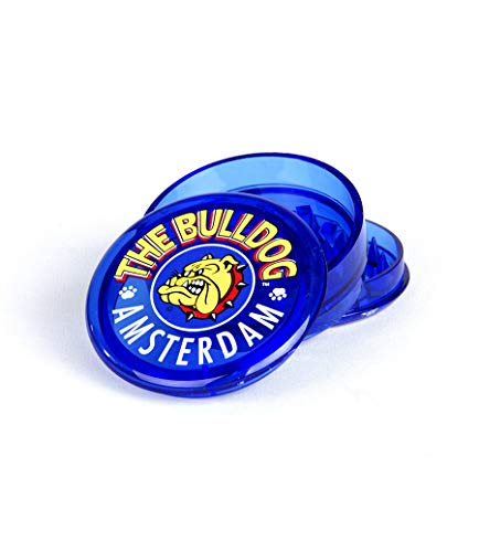 "Bulldog 2""Grinder 3 Pieces Plastico Grinder with Pollen Scraper for Herbs and Spices (5cm, Azul)"