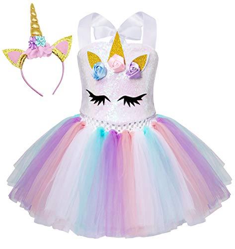 AmzBarley Einhorn Kostüm Tutu Kleid Kinder Einhörner Mädchen Prinzessin Kleider Geburtstag Party Ankleiden Karneval Halloween Cosplay Abendkleid Kleidung mit Stirnband, Weiß Pailletten, 2-3 Jahre