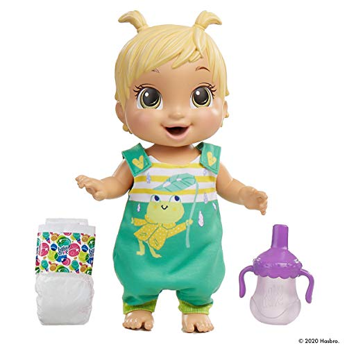 Baby Alive Baby Gotta Bounce Doll, Frog Outfit, rebota con más de 25 SFX y Risas, Bebidas y mojadas, Juguete de Pelo Rubio para niños a Partir de 3 años