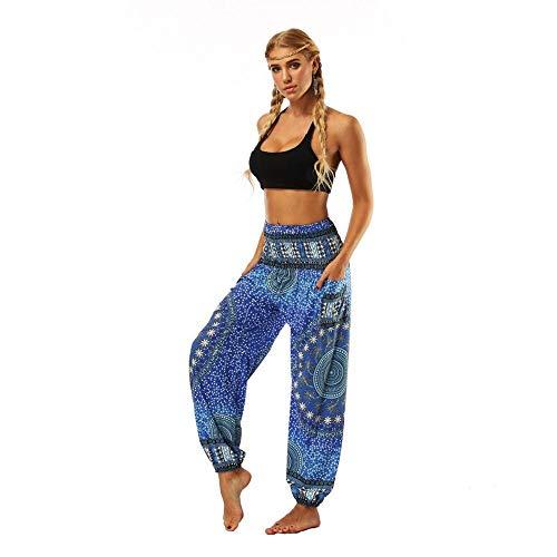 Donna Vita Alta Yoga Pantaloni Harem Tasca Bloomers Traspirante Quick Dry Luce Viola Giada Oceano Blu Danza Del Ventre Fitness Sport Activewear Elastico Sciolto Blu reale Taglia unica