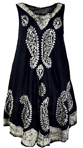 Guru-Shop, Tuniekjurk XXL, Geborduurde Tuniek Hippie Chic, Zwart, Synthetisch, Size:20, Lange Midi-jurken
