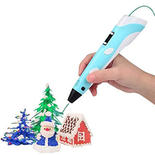 Sofobod - Pluma de impresión 3D, pantalla LED, adaptador de carga USB, compatible con recambios de material de 1,75 mm, PLA o ABS, regalo perfecto para manualidades para niños (azul)