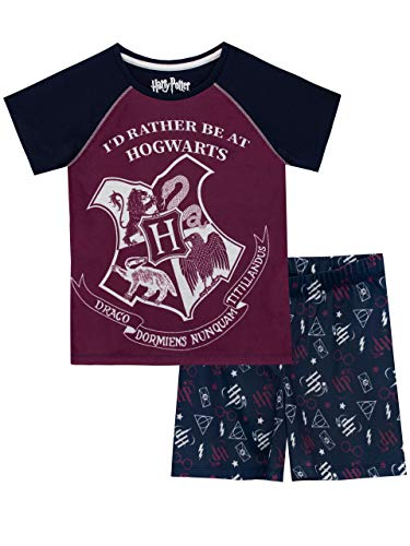 HARRY POTTER Pijamas de Manga Corta para Niñas Hogwarts Azul 11-12 Años