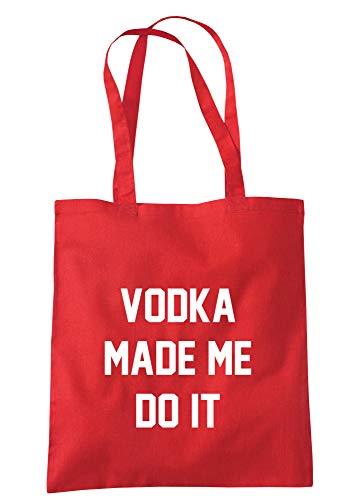 illustratedidentity Wodka Made Me Do It Tragetasche, 37,5 x 42 cm, mit langen Griffen, Rot - rot - Größe: Einheitsgröße