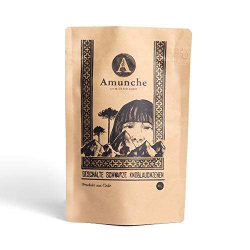AMUNCHE - 80 gr Geschälter Schwarzer Knoblauch aus Chile - Streichzart - Saftig - Antioxidant - Superfood, Snack und Gewürz - 100% Natürlich - Vegan und Geruchslos- Verzehrfertig