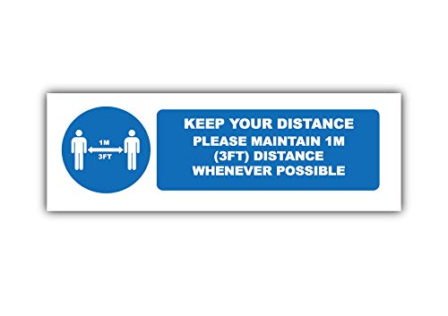 4 x Please Keep Your Distance (1 m) – Señal de seguridad de paisaje de distanciamiento social etiqueta autoadhesiva de vinilo resistente a la intemperie – 225 mm x 106 mm – (SM-07)