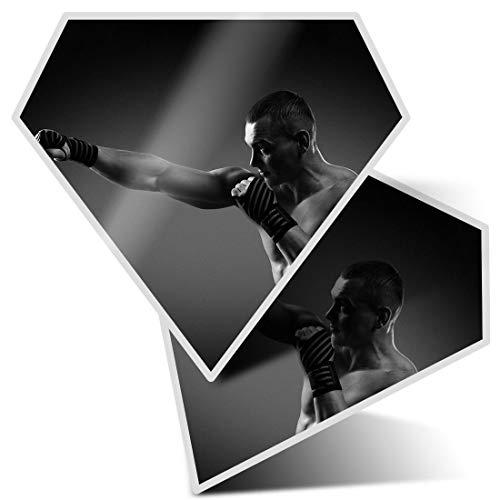 Fantastico 2 adesivi diamantati 10 cm – Boxer Boxing MMA Gym Fitness Fun decalcomanie per computer portatili, tablet, bagagli, scrapbook, frigoriferi, ottimo regalo #42622