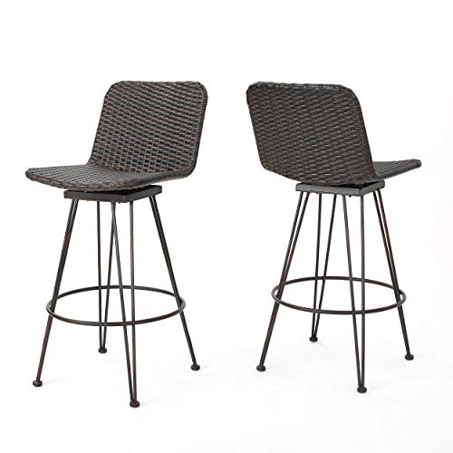 Christopher Knight Home Torrey Outdoor Wicker Barstools with Iron Frame, 2-Pcs Set, Multibrown / Black Brush Copper