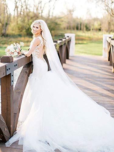 Zoestar Velo de boda Catedral Marfil 1 nivel velo nupcial con peine accesorios para el pelo de boda para novias, 300 cm (blanco)