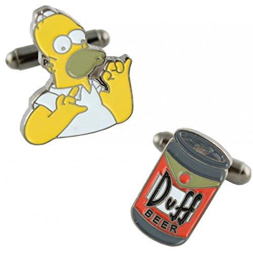 MasGemelos Manschettenknöpfe Homer Simpson und Duff Bier