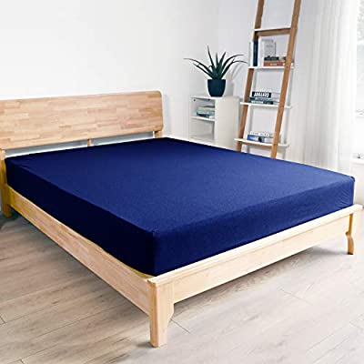 """Queen Size Fitted Sheet Only, Leafbay 4 Way Stretch Microfiber Bedding Fitted Sheet, Super Elastic & Breathable, Fit up to 15"""" Deep Foam or Air Mattress, Wrinkle Resistant for Kids & Adults, Navy"""