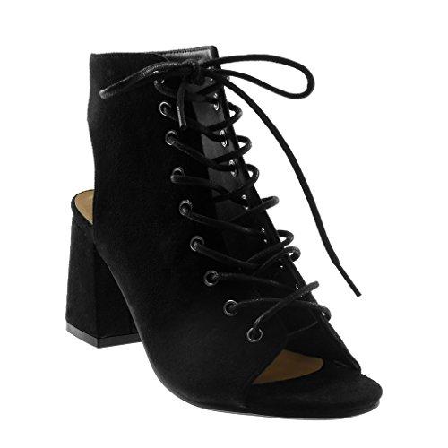 Angkorly - Damen Schuhe Stiefeletten - Hohe - Open-Back - Peep-Toe - Spitze Blockabsatz high Heel 8.5 cm - Schwarz W05-21 T 39