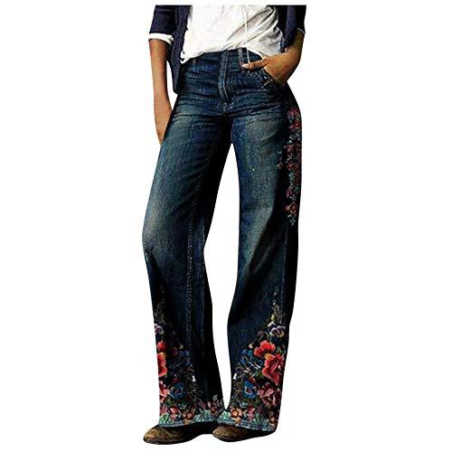 Dasongff Damen Jeans High Waist Bootcut Retro Weite Bein Lange Hose Blumenmuster Jeanshosen Locker Freizeithose Straight-Bein-Hose Stylischer Palazzohose Hosen