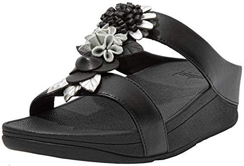 FitFlop Womens Fino Floral Cluster Slides Sandal, All Black, Size 8