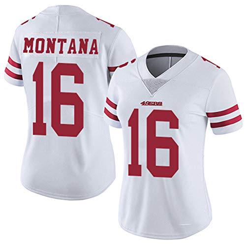 Francisco 49ers 16 # Montana Rugby-Trikot, Damen, bestickte Kleidung, Fußball, Sportswear, kurzärmlig, Polyester, atmungsaktiv, für den Alltag und Rugby-T-Shirt M weiß