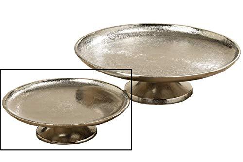 Dekoteller Silber Dekoschale Metall massiv Teller Schale rund Tischdeko Deko (Klein: Ø 19 cm)