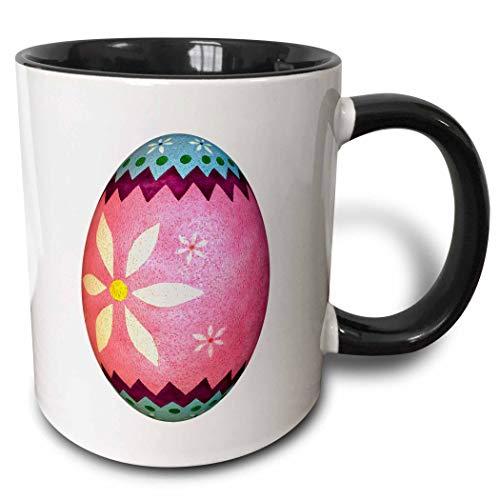 mug Dyed Daisy Easter Egg Taza negra de dos tonos 11 oz Multicolor