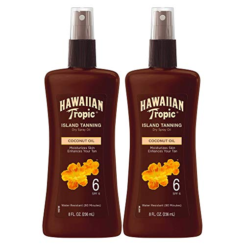 Hawaiian Tropic Dark Tanning Oil, Spray Pump, SPF 6, 8 Ounces - Pack of 2