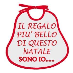 Bavetta Neonato, Bavaglino Natalizio'LE FRASI DEL NATALE', 24x24 cm con laccetti (IL REGALO)