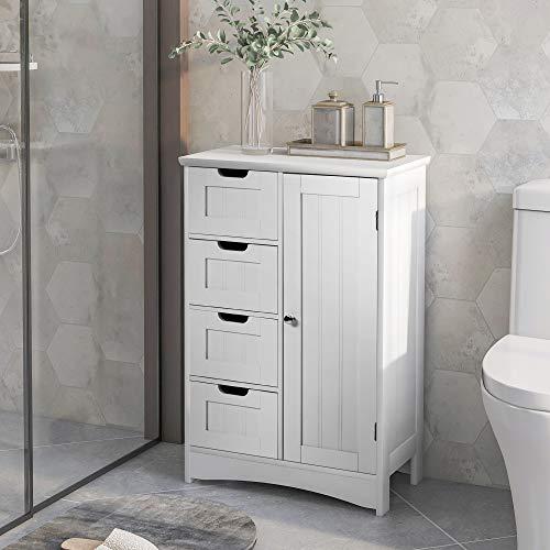 Badezimmerschrank,M MUNCASO schmaler Badschrank, Beistellschrank, Kommode, mit 4 Schubladen, Wohnzimmer, Küche, Flur, tief, freistehend, weiß