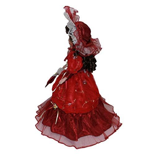 Toygogo 40cm Viktorianisches Porzellan Weibliche Puppe Figuren In Beige Kleid Hut Home Decor - Rot