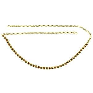 Memoir Gold Plated Brass, Flower Design, Multi Colour Stone Studded Stylish Waistbelt, kamarpatta, Traditional kamarbandh Women Wedding Bridal Jewellery Ethnic