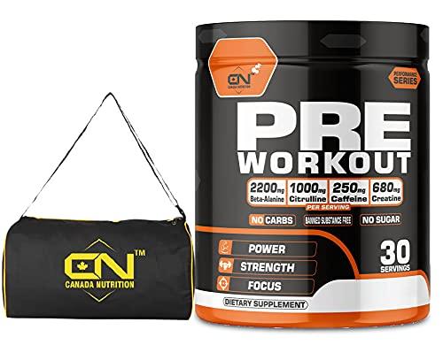Canada Nutrition Hardcore Preworkout | Lean Muscles Building | Strength | Mental Focus | Energy | Powerful Pumps | Creatine, Beta Alanine, AAKG, Caffeine for Men & Women [30, Green Apple] Free Gym Bag