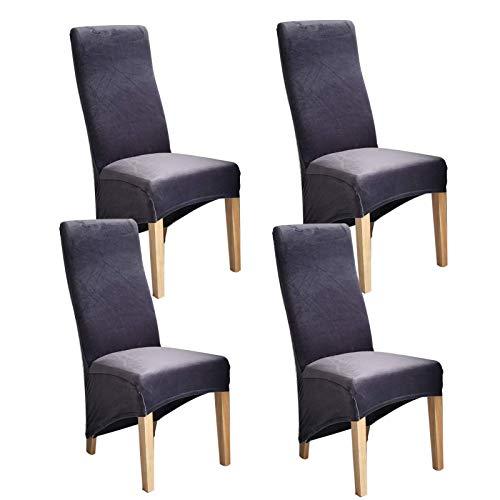 LYY Funda para silla de comedor, suave, con banda elástica, protector universal para silla de respaldo alto