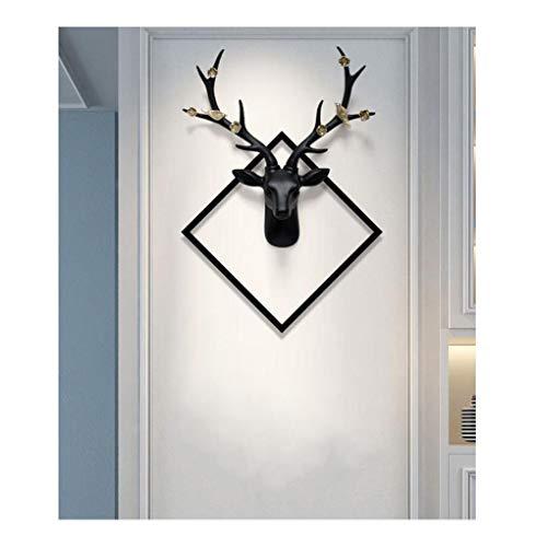 noyydh Décorations murales de cerf, Sculpture en tête du Salon Salon Jardin, Artisanat des Animaux en résine, Cadeaux ménagers, 62x82x16cm (Color : Black)