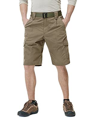 CQR Mens Hiking Tactical Shorts, Quick Dry Fishing Shorts, Lightweight Outdoor Rip-Stop EDC Assault Cargo Short, Tactical Shorts(tsp203) - Coyote, 36
