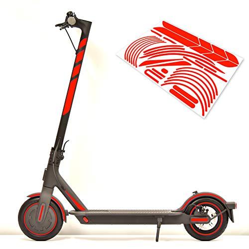 m2medien Aufkleber-Set (30-teilig) Sticker-Set auf 35x24cm Bogen geeignet für Xiaomi Mi Scooter 1S Pro 2 E-Scooter (Neon-Rot)