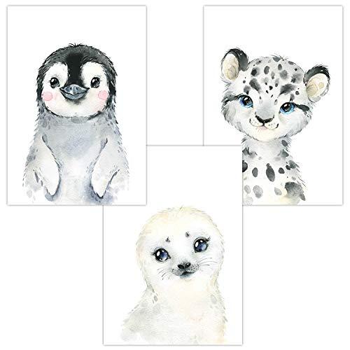 Wandbilder 3er Set für Babyzimmer Deko Poster | Kunstdruck DIN A4 | Dekoration Kinderzimmer (Polar Baby Pinguin Seehund Schneeleopard)