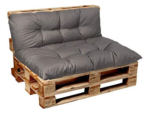 Garden Factory - Cuscino per bancale, Cuscini per Pallet, Seduta, Schienale, Set, Trapuntato, Set (Seduta 120x60 + Schienale 120x40) Grigio
