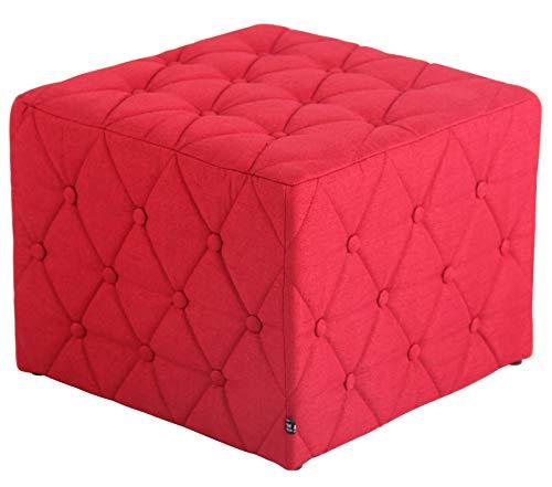 CLP Poggiapiedi Puff Quadrato Nashville in Stoffa E Legno I Pouf Divano Imbottito Design Chesterfield con Bottoni I H 37 CM, Colore:Rosso