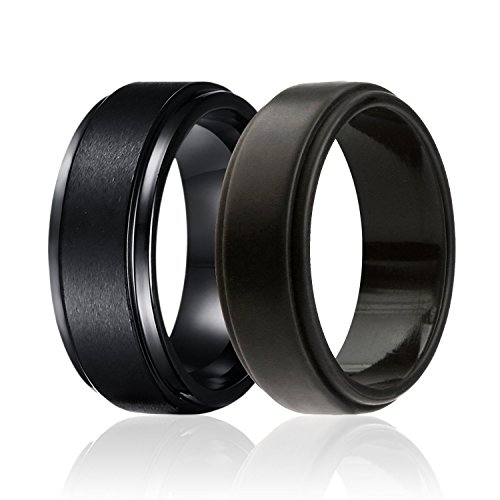 SOLEED Twins - Set of 2-1 Black Tungsten Wedding Band, Brushed Top, Step Edge and 1 Black Silicone Rubber Wedding Ring for Men, 8mm, Size 12