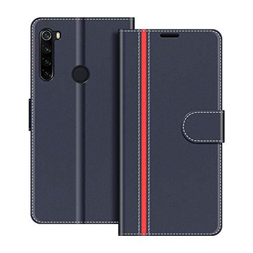 COODIO Funda Xiaomi Redmi Note 8 con Tapa, Funda Movil Xiaomi Redmi Note 8, Funda Libro Xiaomi Redmi Note 8 Carcasa Magnético Funda para Xiaomi Redmi Note 8, Azul Oscuro/Rojo
