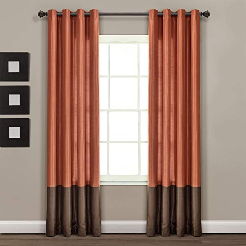"""Lush Decor Color Block Prima Window Curtains Panel Set for Living, Dining Room, Bedroom (Pair), 54 x 84-inch, 84"""" x 54"""", Brown/Rust"""