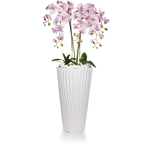 Gesteck künstliche Orchideen im Hochübertopf - Gesamthöhe: ca. 140cm | Stoffblüten | Farbe: Rosa | Gesteck Orchidee Kunstpflanze Schmuck Blumen Arrangement Kunstblumen