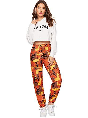 SOLY HUX Women's Casual Camo Pants Pocket Color Block Elastic Mid Belt Waist Cargo Pants M