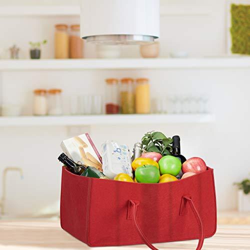 Relaxdays Felt Firewood Basket, Portable Magazine Holder, Wood Bin H x W x D: 25 x 25 x 50 cm, Grey