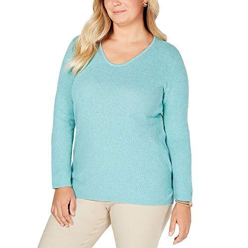 Karen Scott Womens Plus Cotton Scoop Neck Tunic Sweater Blue 1X