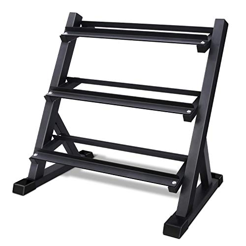 Akyen 3 Tier Dumbbell Rack Stand Only for Home Gym, Weight Rack for Dumbbells (900 Pounds Weight Capacity, 2020 Version)