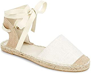 LAICIGO Womens Espadrille Ankle Straps Tie Up Sling Back Closed Toe Flat Sandals D'Orsay Shoes