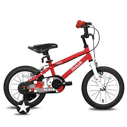 STITCH Vélo enfant pour 3 4 et 5 ans avec stabilisateurs pour filles et garçons, 35,6 cm - Montage à 95 % - Rouge