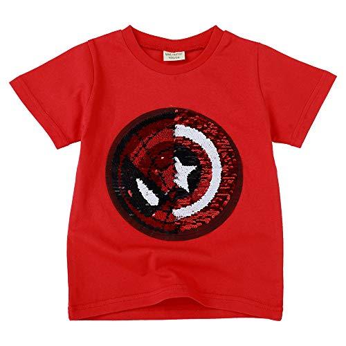 Niño niña Camiseta con Lentejuelas Camiseta mágica de Lentejuelas de Manga Corta (3-4 años de Edad, D)